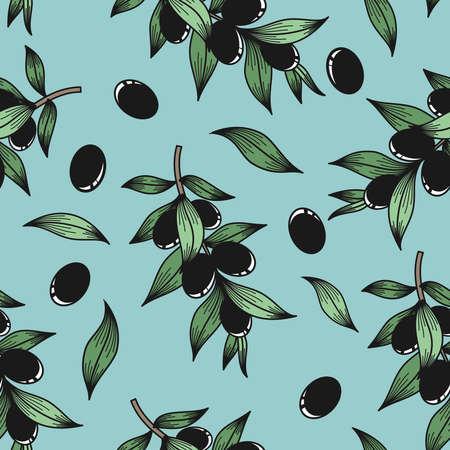 Black olives on a blue background in vector
