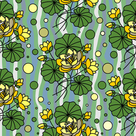 Seamless pattern with yellow lotuses on water in vector