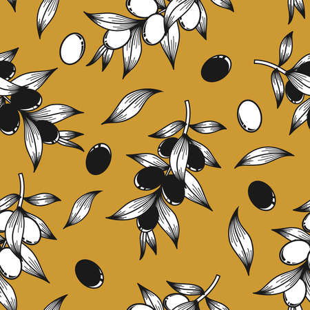 Black and white olives on a mustard background in vector Stock Illustratie