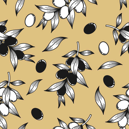 Black and white olives on a beige background in vector