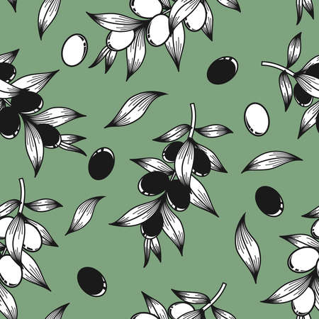 Black and white olives on a green in the background vector