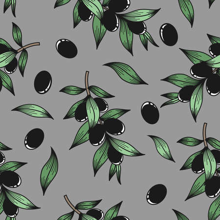 Black olives on a gray background in vector