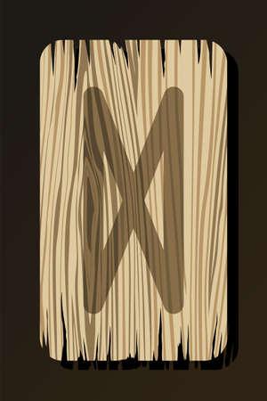 OLD WOODEN RUNE OF DAGAZ ON A WHITE BACKGROUND IN VECTOR Stock Illustratie