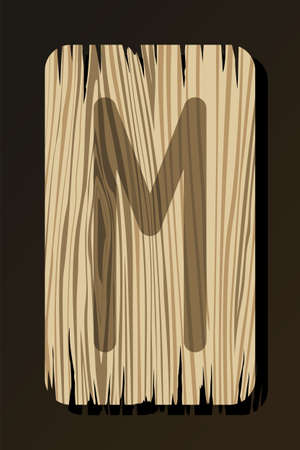 OLD WOODEN RUNE OF EHWAZ ON A WHITE BACKGROUND IN VECTOR Stock Illustratie