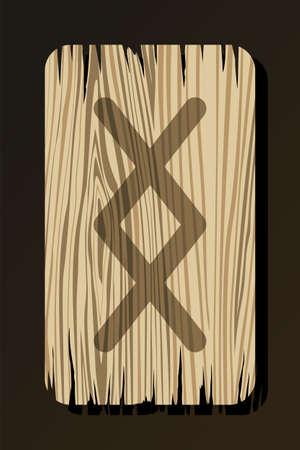 OLD WOODEN RUNE OF INGWAZ ON A WHITE BACKGROUND IN VECTOR Stock Illustratie