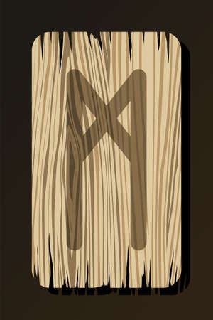 OLD WOODEN RUNE OF MANNAZ ON A WHITE BACKGROUND IN VECTOR