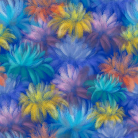 BRIGHT COLORFUL FLOWERS ON A BLUE BACKGROUND