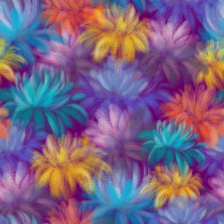 BRIGHT COLORFUL FLOWERS ON A LILAC BACKGROUND Stockfoto