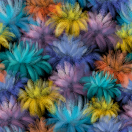 BRIGHT COLORFUL FLOWERS ON A BLACK BACKGROUND Stockfoto