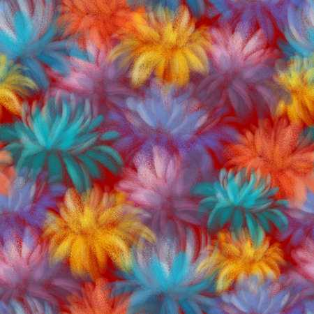 BRIGHT COLORFUL FLOWERS ON A RED BACKGROUND Stockfoto