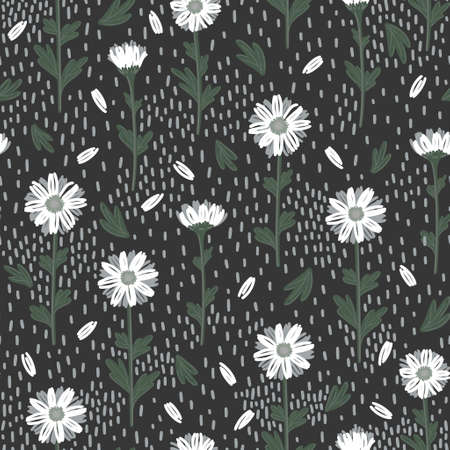 SEAMLESS PATTERN WITH WHITE DAISIES ON A GRAY BACKGROUND IN VECTOR