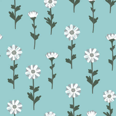 SEAMLESS PATTERN WITH WHITE DAISIES ON MINT BACKGROUND IN VECTOR