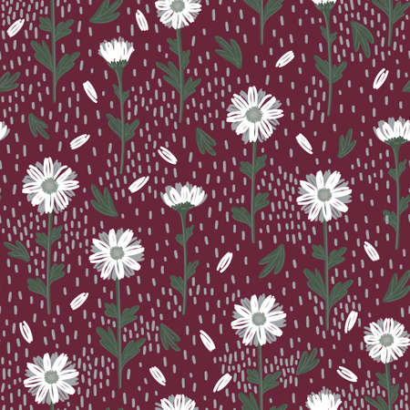 SEAMLESS PATTERN WITH WHITE DAISIES ON A CRIMSON BACKGROUND IN VECTOR