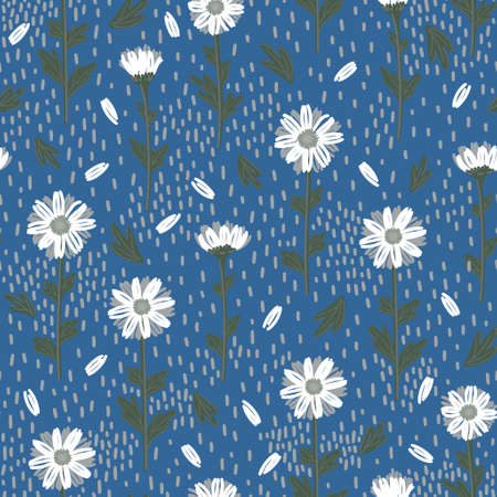 SEAMLESS PATTERN WITH WHITE DAISIES ON A BLUE BACKGROUND IN VECTOR