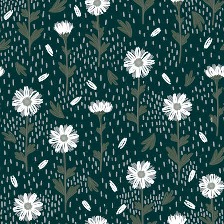 SEAMLESS PATTERN WITH WHITE DAISIES ON A GREEN BACKGROUND IN VECTOR
