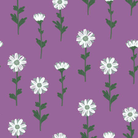 SEAMLESS PATTERN WITH WHITE DAISIES ON A LILAC BACKGROUND IN VECTOR