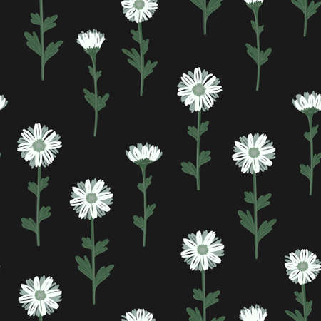 SEAMLESS PATTERN WITH WHITE DAISIES ON A BLACK BACKGROUND IN VECTOR