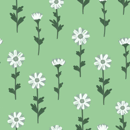 SEAMLESS PATTERN WITH WHITE DAISIES ON A LIGHT GREEN BACKGROUND IN VECTOR Stock Illustratie