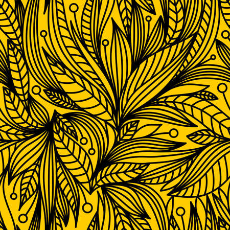YELLOW SEAMLESS BACKGROUND WITH BLACK VECTOR PATTERN Stock Illustratie