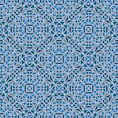Seamless pattern with a small geometric ornament on a blue background in the vector