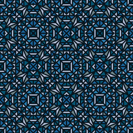 Seamless blue pattern with a small geometric ornament on a black background in vector