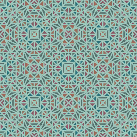 Seamless pattern with a small geometric ornament on a green background in the vector
