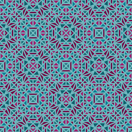 Seamless multi-colored pattern with a small geometric ornamert on a green background in the vector