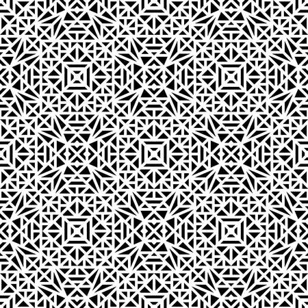 Seamless white pattern with a small geometric ornament on a black background in vector