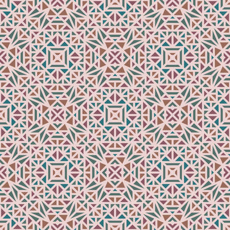 Seamless multi-colored pattern with a small geometric ornament on a pink background in the vector Stock Illustratie