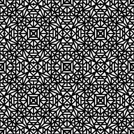 Seamless black pattern with a small geometric ornament on a white background in vector