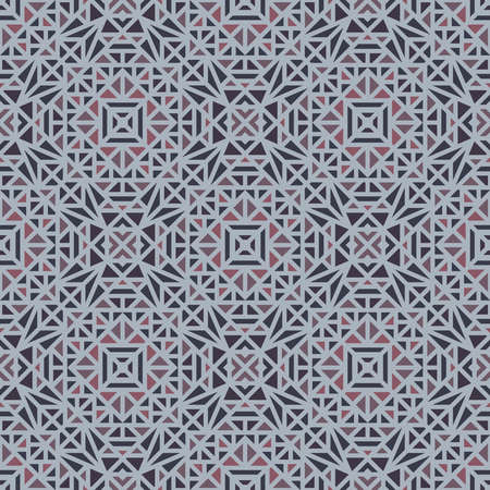 Seamless multi-colored pattern with a small geometric ornament on a gray background in the vector