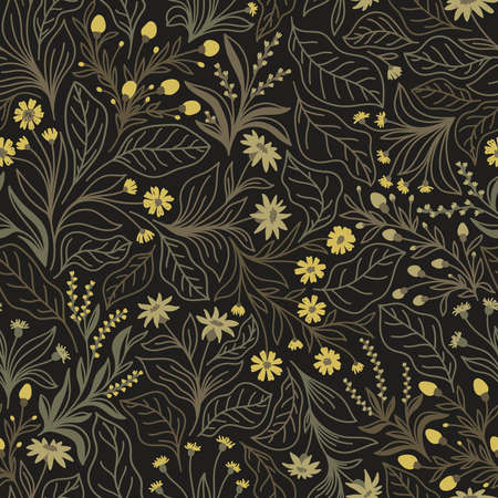 Seamless pattern with different wildflowers and leaves on a brown background in the vector Stock Illustratie