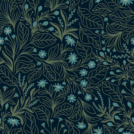 Seamless pattern with different wildflowers and leaves on a blue background in vector