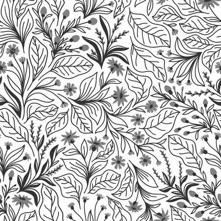 Seamless pattern with different wildflowers and leaves on a white background in vector