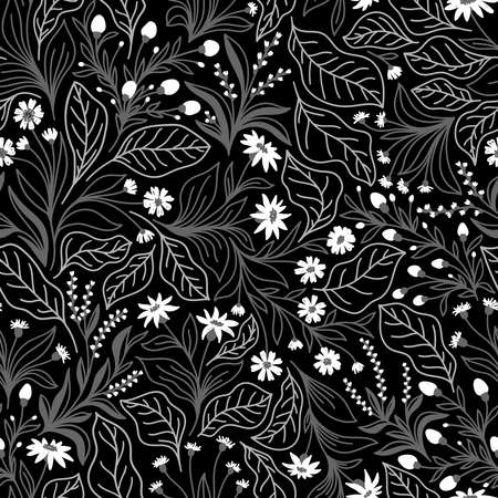 Seamless pattern with different wildflowers and leaves on a black background in vector
