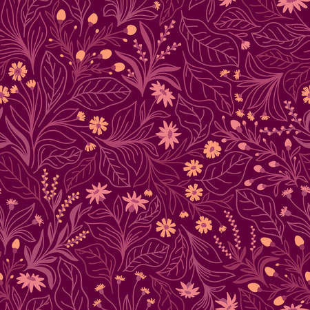 Seamless pattern with different wildflowers and leaves on a lilac background in vector Stock Illustratie