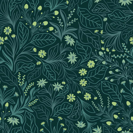 Seamless pattern with different wildflowers and leaves on an emerald background in vector Stock Illustratie