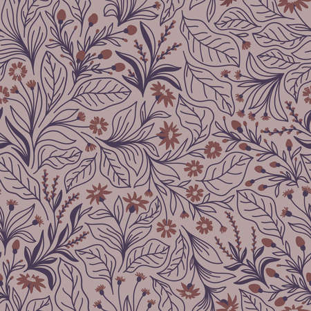 Seamless pattern with different wildflowers and leaves on a pink background in vector Stock Illustratie