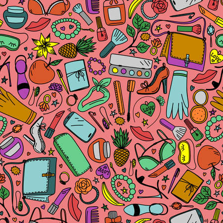 Seamless pattern with bright women accessories on a pink background in vector