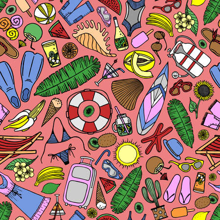 Bright seamless pattern with beach accessories and tropical fruits on a pink background in vector Stock Illustratie