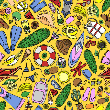 Bright seamless pattern with beach accessories and tropical fruits on a yellow background in vector