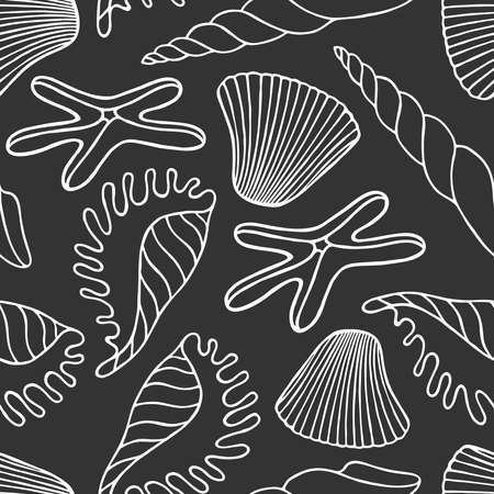 Seamless pattern with exotic seashells and starfish on a gray background in vector Stock Illustratie