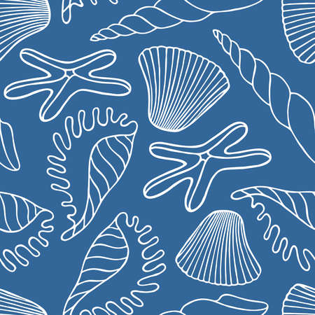 Seamless pattern with exotic seashells and starfish on a blue background in vector Stock Illustratie