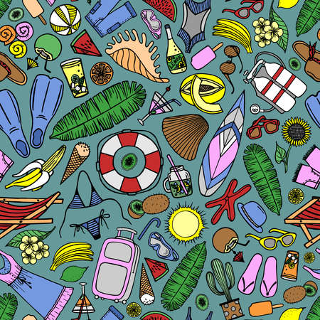 Bright seamless pattern with beach accessories and tropical fruits on a mint background in vector