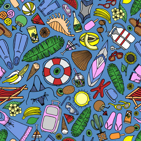 Bright seamless pattern with beach accessories and tropical fruits on a blue background in vector Stock Illustratie