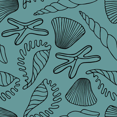 Seamless pattern with exotic seashells and starfish on a mint background in vector