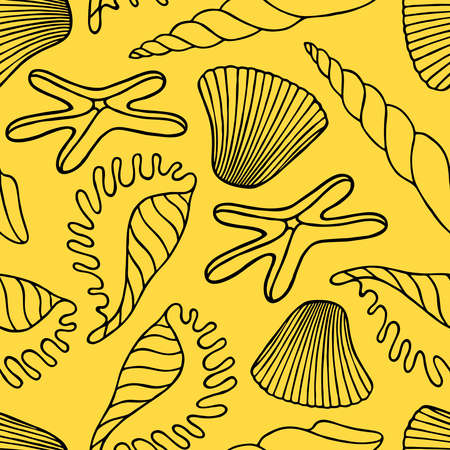 Seamless pattern with exotic seashells and starfish on a yellow background in vector