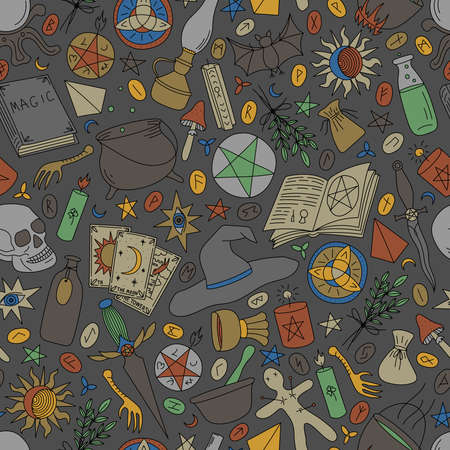 Seamless pattern with multi-colored objects for magic on a gray background