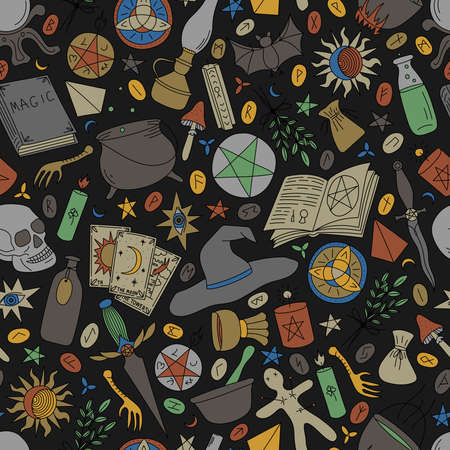 Seamless pattern with multi-colored objects for magic on a black background