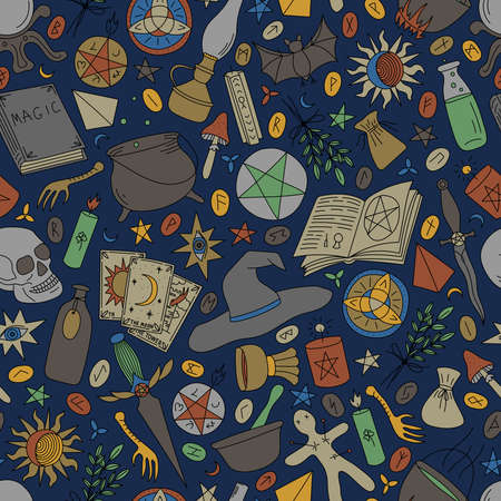 Seamless pattern with multi-colored objects for magic on a blue background Stock Illustratie